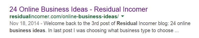 Residual Business Ideas SERP Results