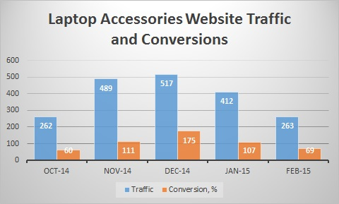 Laptop Accessories Website Traffic and Conversions Feb 2015